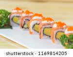 philadelphia roll sushi with... | Shutterstock . vector #1169814205