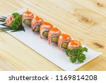 philadelphia roll sushi with... | Shutterstock . vector #1169814208