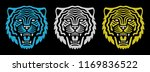 Stock vector set of retro tiger faces vintage design retro logo roaring tiger 1169836522
