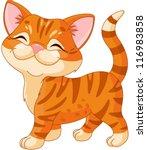 Stock vector cute striped kitten walking proud 116983858