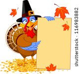 thanksgiving turkey holding... | Shutterstock .eps vector #116983882