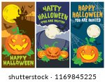 halloween card pumpkin set | Shutterstock .eps vector #1169845225
