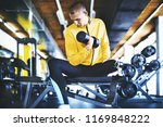young athlete with prosthetic... | Shutterstock . vector #1169848222