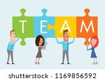 teamwork at work represented by ... | Shutterstock .eps vector #1169856592