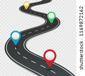 highway roadmap with pins. car... | Shutterstock .eps vector #1169872162