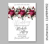 marsala dark red peony wedding... | Shutterstock .eps vector #1169894902