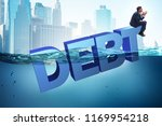businessman in debt business... | Shutterstock . vector #1169954218