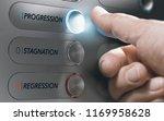 man pushing an elevator button... | Shutterstock . vector #1169958628