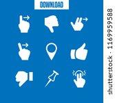 thumb icon. 9 thumb vector set. ... | Shutterstock .eps vector #1169959588