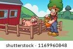 cartoon farmer feeding a pig....   Shutterstock .eps vector #1169960848