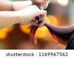 hairdresser cuts the hair of... | Shutterstock . vector #1169967562