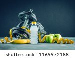 fitness sport background eith... | Shutterstock . vector #1169972188