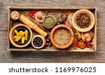 big set indian spices and herbs.... | Shutterstock . vector #1169976025