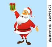 Santa Claus holding a gift at arm, full-length - stock vector