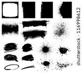 Set Black Grunge Design Element - stock vector