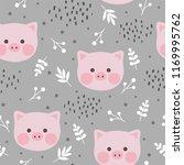 cute pig seamless pattern... | Shutterstock .eps vector #1169995762