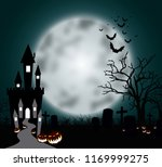 halloween pumpkins and dark... | Shutterstock . vector #1169999275