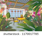 room with flowers. illustration | Shutterstock .eps vector #1170017785
