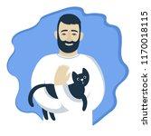 Cartoon Bearded Man In White...