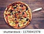 pizza with chicken and olives  | Shutterstock . vector #1170041578