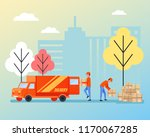 warehouse workers stevedores... | Shutterstock .eps vector #1170067285