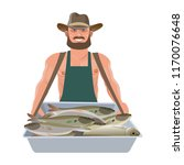 fish vendor carrying a hawker's ... | Shutterstock .eps vector #1170076648