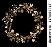 gold autumn floral wreath on... | Shutterstock .eps vector #1170093715