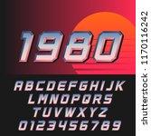 slanted retro futuristic font... | Shutterstock .eps vector #1170116242