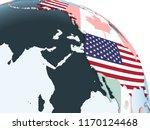 usa on bright political globe... | Shutterstock . vector #1170124468