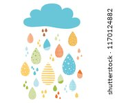 funny colorful drops of rain...   Shutterstock .eps vector #1170124882