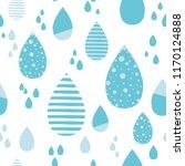 cute blue rainy drops of rain...   Shutterstock .eps vector #1170124888