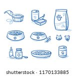cute cartoon dog  and cat food... | Shutterstock .eps vector #1170133885