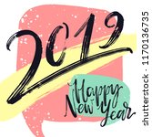 2019 numbers by ink brush on... | Shutterstock .eps vector #1170136735