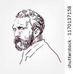vincent van gogh vector sketch... | Shutterstock .eps vector #1170137158