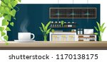 cup of coffee on wooden table... | Shutterstock .eps vector #1170138175