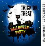 happy halloween vector poster ... | Shutterstock .eps vector #1170138538