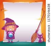 little witch with black kitten... | Shutterstock .eps vector #1170146638