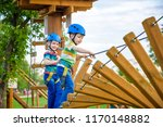 young boy playing and having... | Shutterstock . vector #1170148882