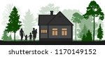family near a country house  in ... | Shutterstock .eps vector #1170149152