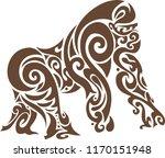 monkey stencil art | Shutterstock .eps vector #1170151948