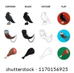 sitting crow  horn with drink ... | Shutterstock .eps vector #1170156925