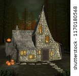 halloween witch house with... | Shutterstock . vector #1170180568
