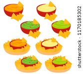 nachos and dips in bowl ... | Shutterstock .eps vector #1170185302