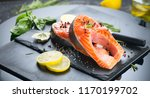 salmon. raw trout red fish... | Shutterstock . vector #1170199702