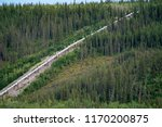 Small photo of View of the Trans Alaskan Pipeline (TAPS) among the boreal forest wilderness of the interior of Alaska
