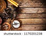 top view of vintage navigation...   Shutterstock . vector #1170201238