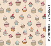 Cupcakes Sweets Seamless Doodl...