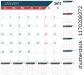 french calendar template for... | Shutterstock .eps vector #1170208372