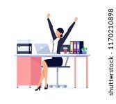 businesswoman in a flat style... | Shutterstock . vector #1170210898