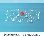 boat with red sail going in... | Shutterstock .eps vector #1170220312